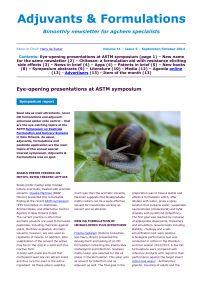 Adjuvant Newsletter front page